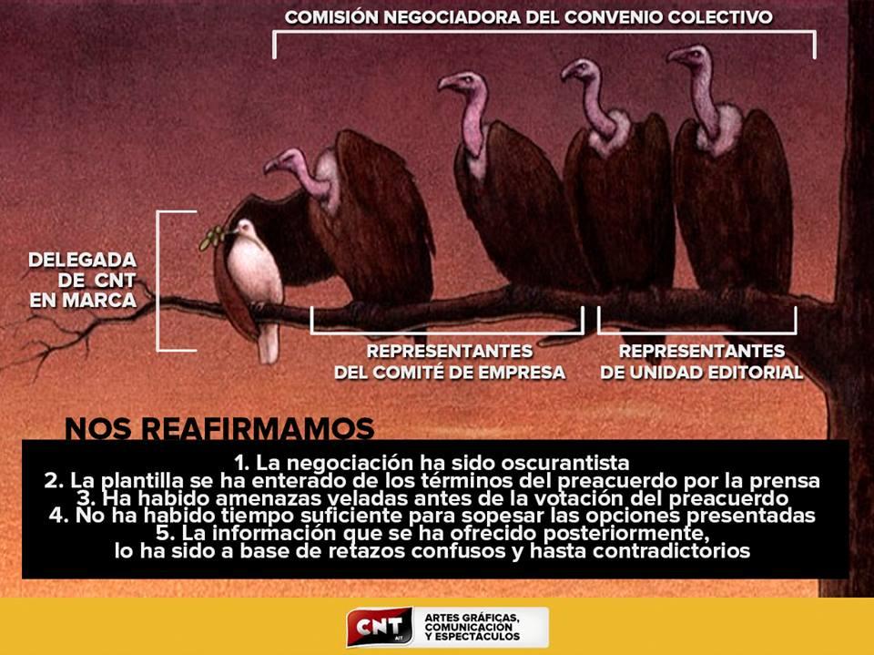 apoyo a a la sección sindical de CNT en MARCA y a su delegada sindical