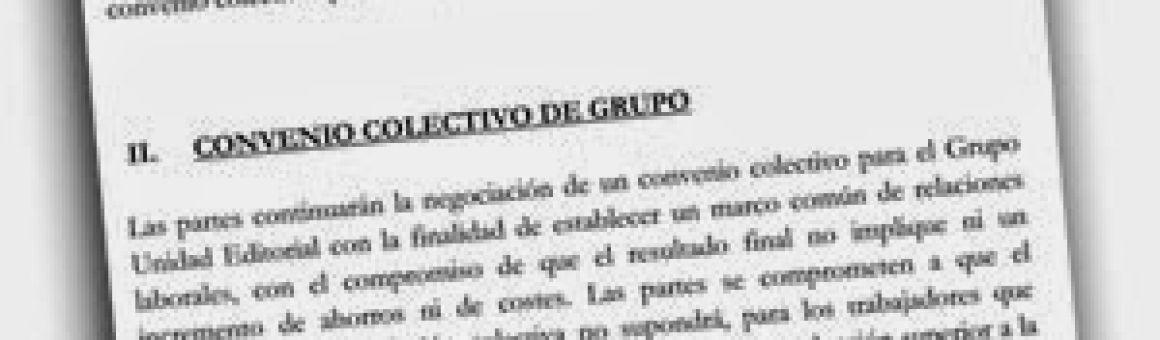 Documento del acuerdo firmado entre empresas y comités en Unidad Editorial